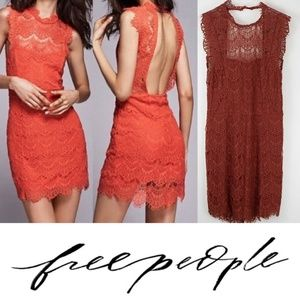 Free People Daydream Lace Mini Dress Rust Brown